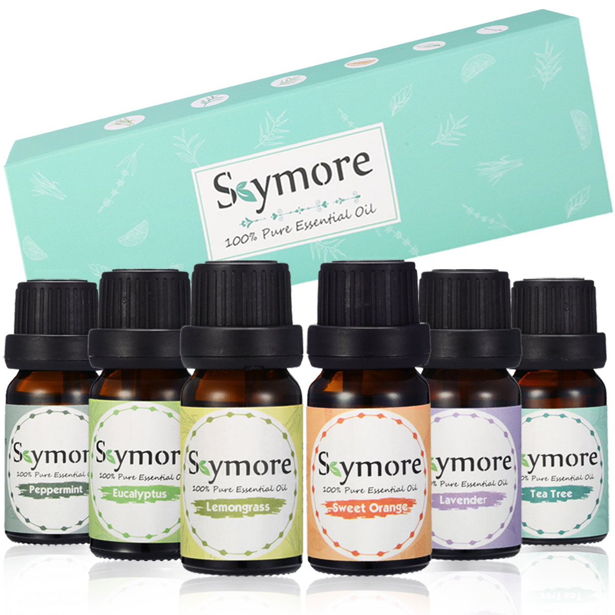 Skymore Essential Oil Set 100% Pure Therapeutic Grade Essential Oil Kit, Valentine's Day Gift 6/10ML (Tea Tree, Lavender, Peppermint, Eucalyptus, Lemongrass, Orange)