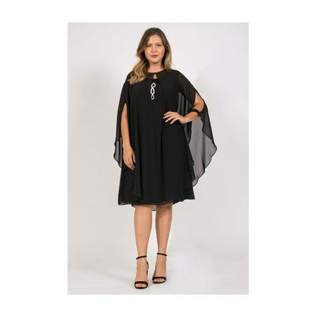 SL Fashions - SL Fashions Short Plus Size Formal Cape Dress ...