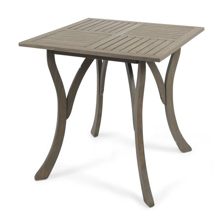 Baia Outdoor Acacia Wood Square Dining Table, Grey Outdoor Square Table