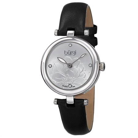 - Women's Quartz Diamond Markers Etched Flower Dial Leather Silver-Tone Strap Watch