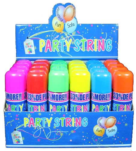Silly Crazy Party String - Case of 24 Cans (Large Size)