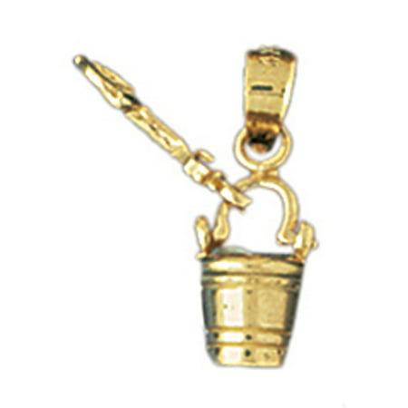 14K Yellow Gold Pail And Shovel Pendant - 16 mm