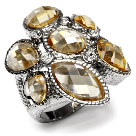 Large Champagne Faceted Cubic Zirconia Stainless Steel Cocktail Ring Size 5 - (Champagne Cocktail Ring)