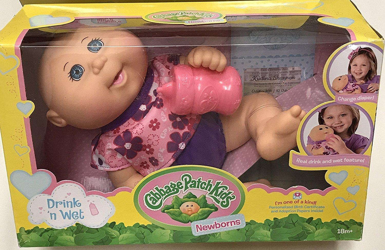 Cabbage Patch Kids Drink N' Wet Newborn Baby Doll (Flower) by