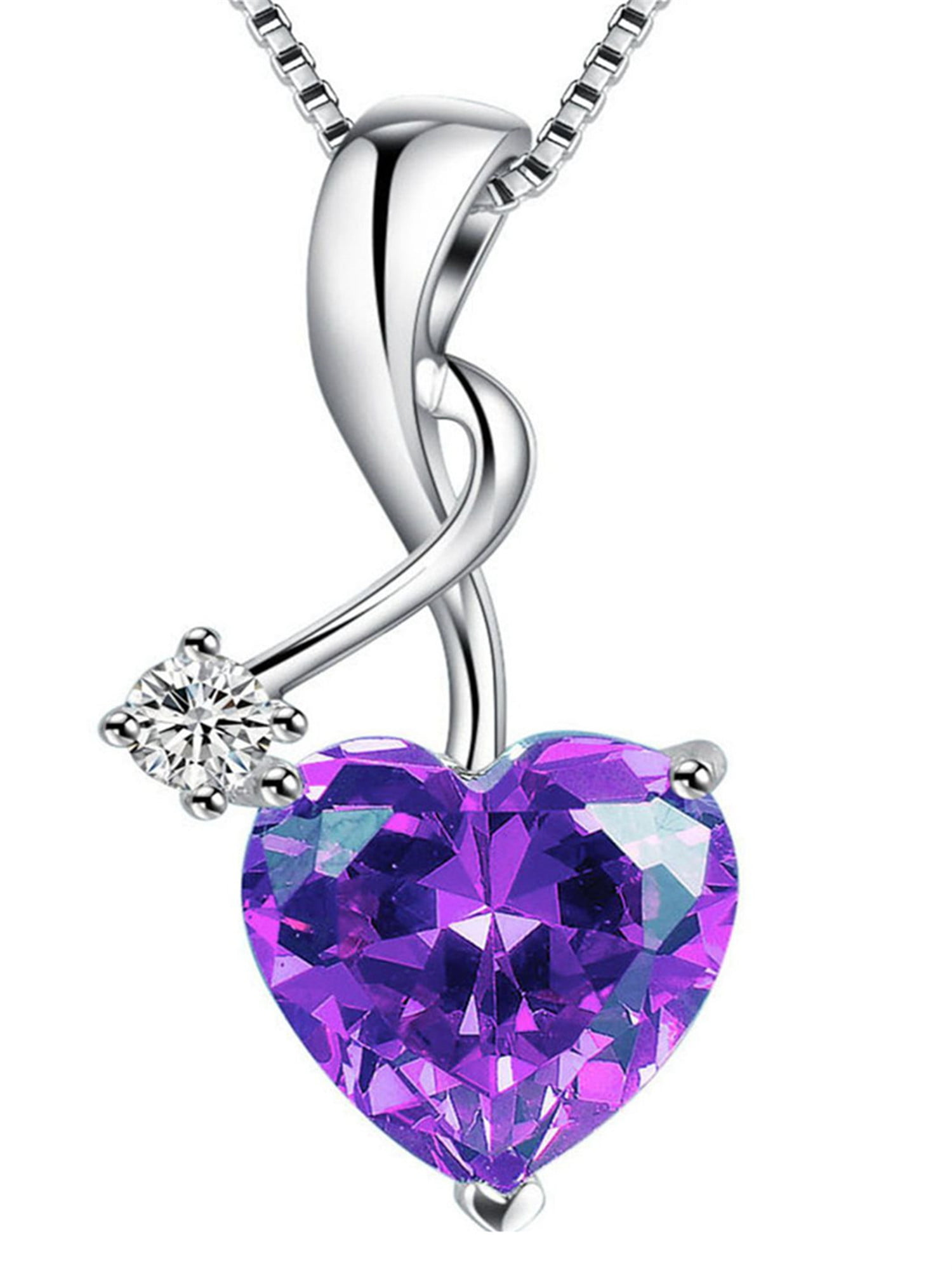 Wishrocks Simulated Amethyst /& Diamond Accent Infinity Heart MOM Pendant in Sterling Silver