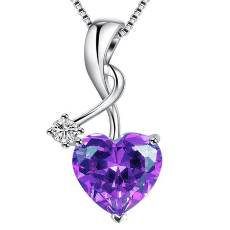 Devuggo Sterling Silver 3.16ct Heart Cut Simulated Amethyst Pendant Necklace, Mother's Day Gifts for -