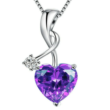 Devuggo Sterling Silver 3.16ct Heart Cut Simulated Amethyst Pendant Necklace, Mother's Day Gifts for Women