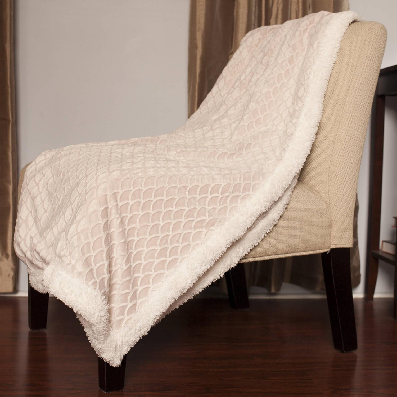 "Mermaid Sherpa Reversible Ultra Soft Poly Faux Lamb's Wool Throw Blanket, 50"" x 60"", 5 Colors"
