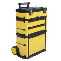 Stalwart Stackable Toolbox Rolling Mobile Organizer with Telescopic Comfort Grip Handle