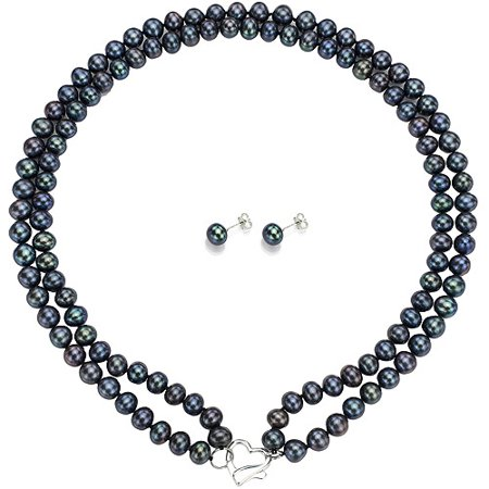"""Image of Double Row 7-8mm Black Freshwater Pearl Heart-Shape Sterling Silver Clasp Necklace (18"""") with Bonus Pearl Stud Earrings"""