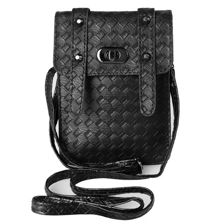 - Vegan Leather Braid Woven Crossbody Purse For Apple iPhone XS Max / XS / XR / X With Adjustable Shoulder Strap And Two Compartments For Travel, Festivals, And Every Day Use (Black)