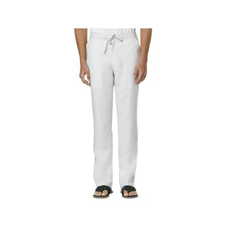 Cubavera Mens Linen Textured Casual Pants Tan XXL Cubavera Linen Pants