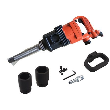 "Zimtown 1"" Air Impact Wrench Gun, Heavy Duty Industrial Pneumatic Compressor Tool Long Shank Commercial Truck,  Mechanics with Case, 1900 ft/1b , Orange"