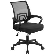 Yaheetech Height Adjustable Ergonomic Office Chair Mid-Back Big Computer Chair Mesh Swivel Chair with Lumbar Support & 360 Rolling Casters, Black