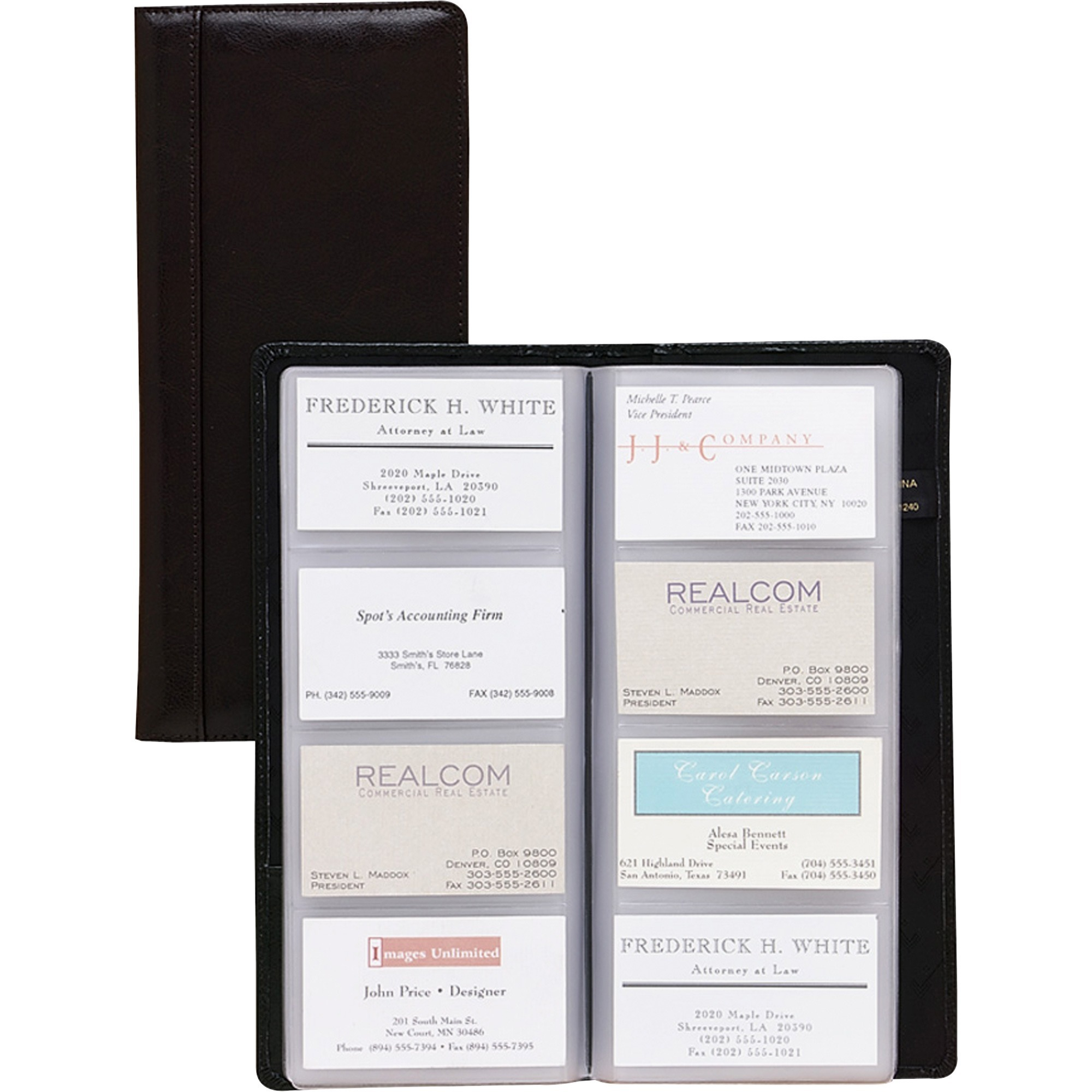 Genuine Leather Business Card Holder 20 Cards Organizer Book IDs ...