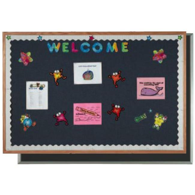 AARCO Products OF1218003 Oak Frame Fabric Bulletin Board