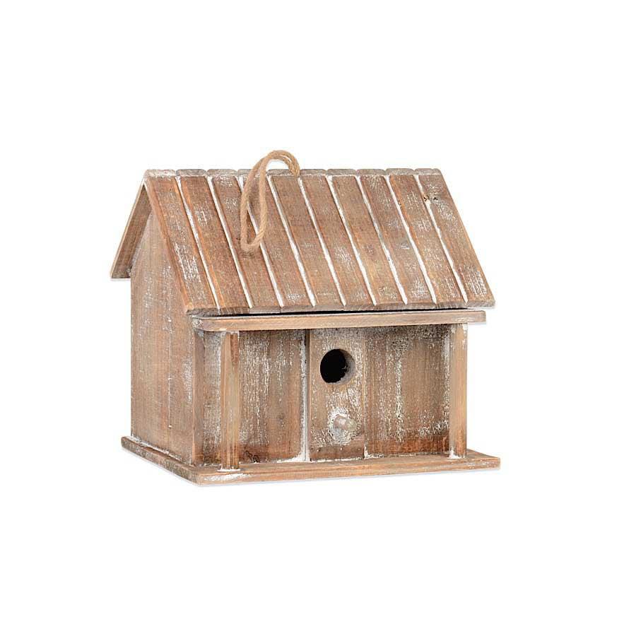 Weathered Wood Single Hole Birdhouse
