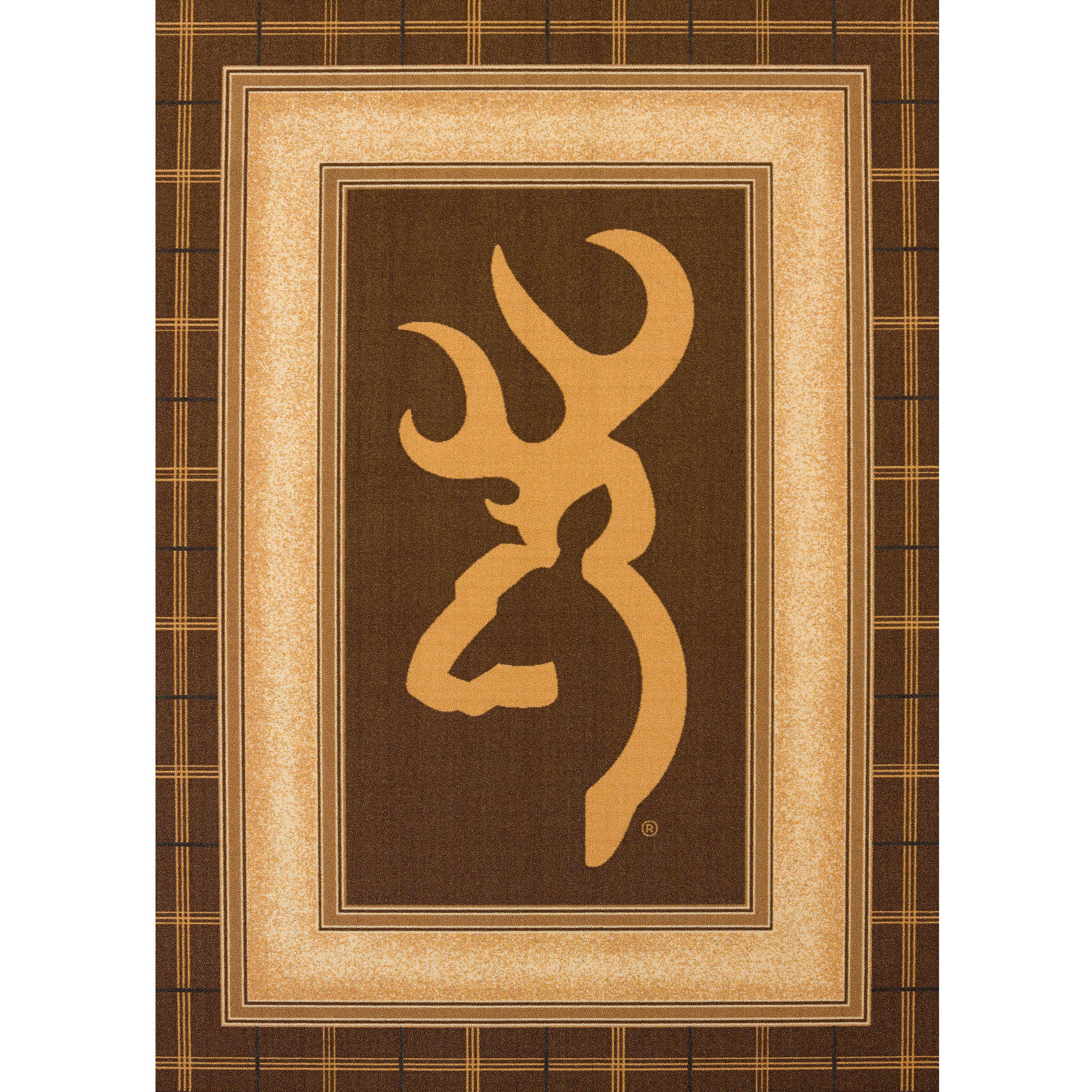 Browning Buckmark Brown Nylon Accent Rug by United Weavers of America, Inc.