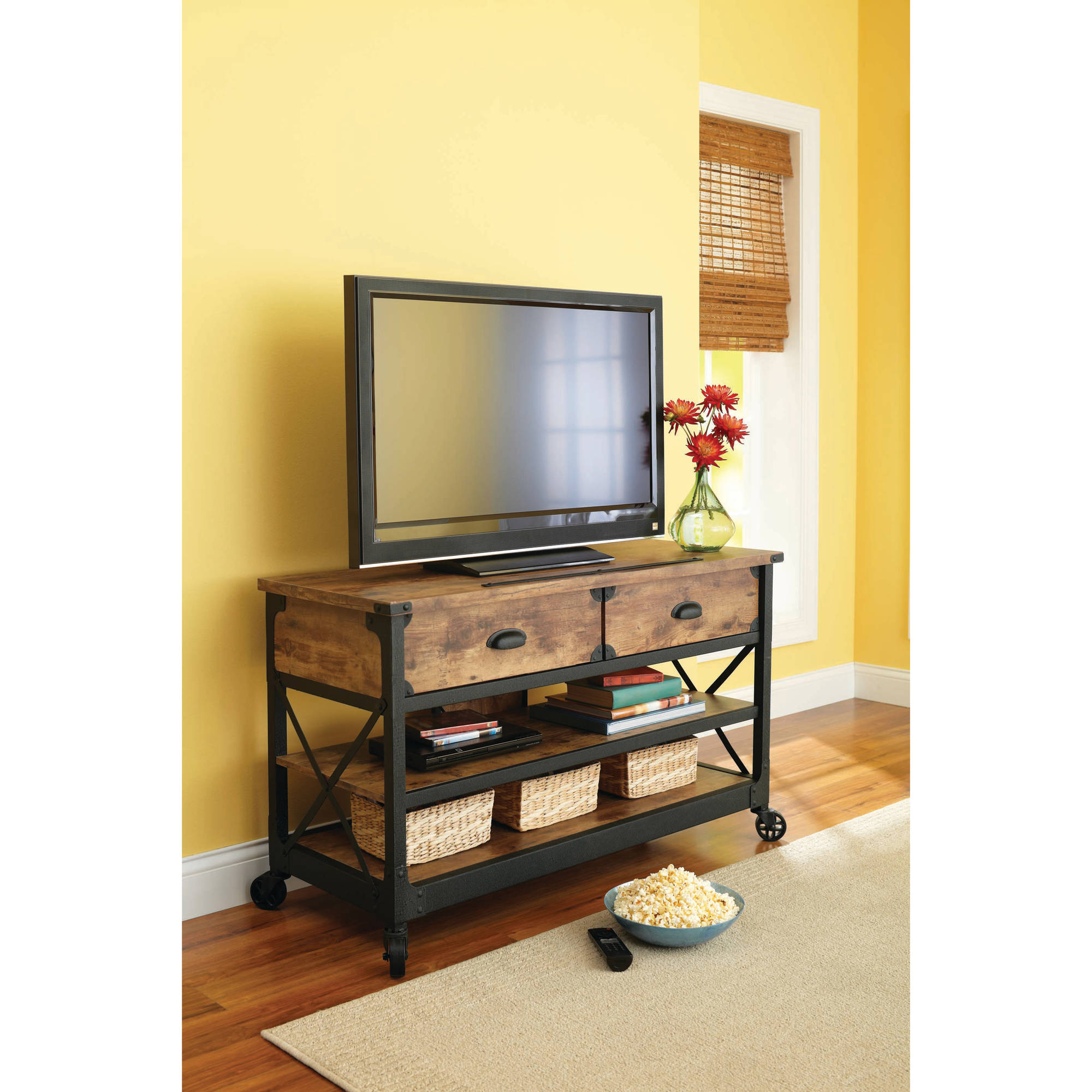 Better Homes And Gardens Rustic Country Antiqued Black/Pine Panel TV Stand  For TVs Up