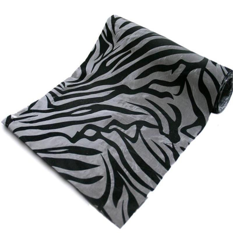 "Wholesale Taffeta Velvet Zebra Animal Print Fabric Bolt 12""x10Yards Silver/Black"