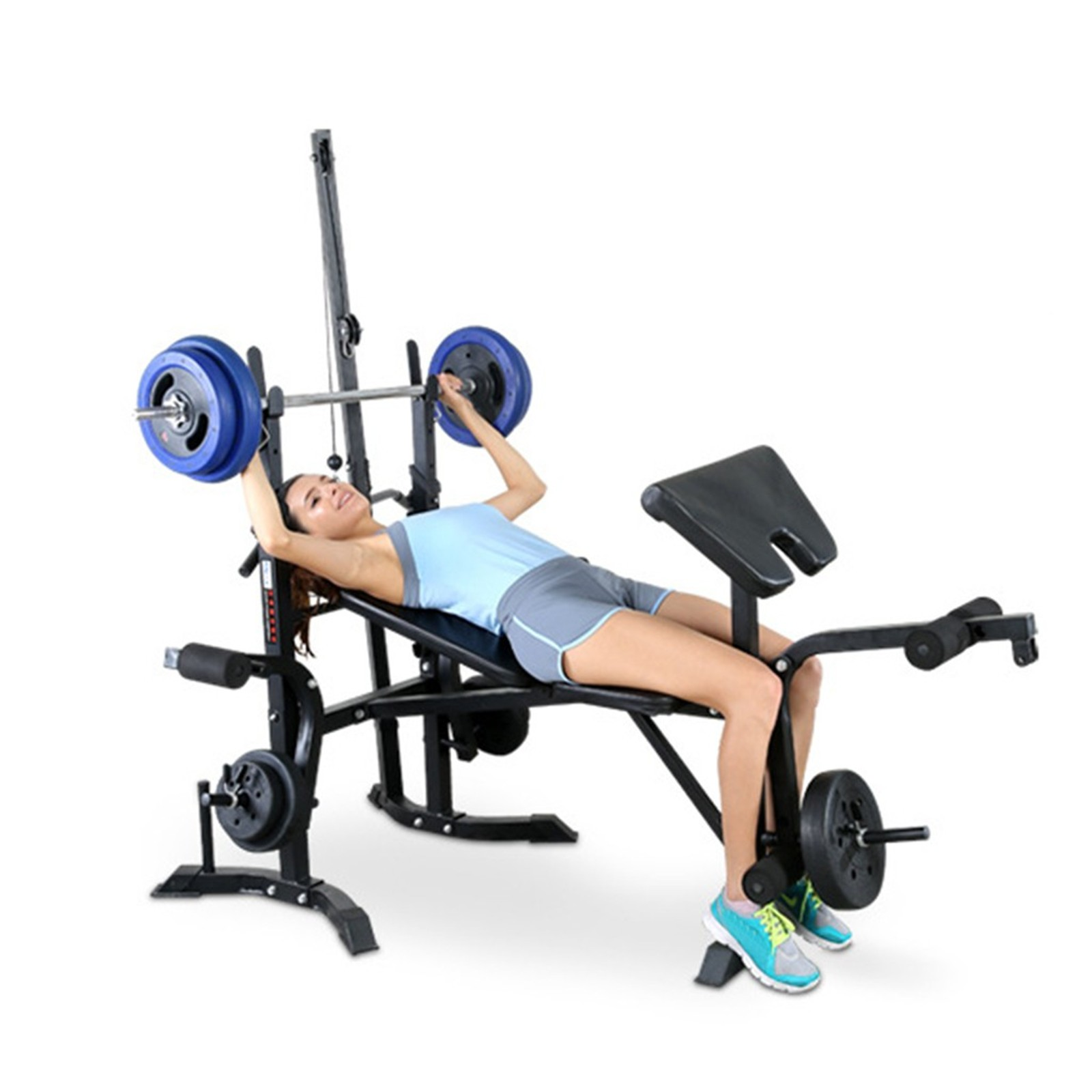 Adjustable Weight Benche Set with Squat Rack,Olympic Weight Benches Multifunctional Weight-Lifting Bed Weight-Lifting Machine Fitness Equipment for Home//Office//Gym US Shipping