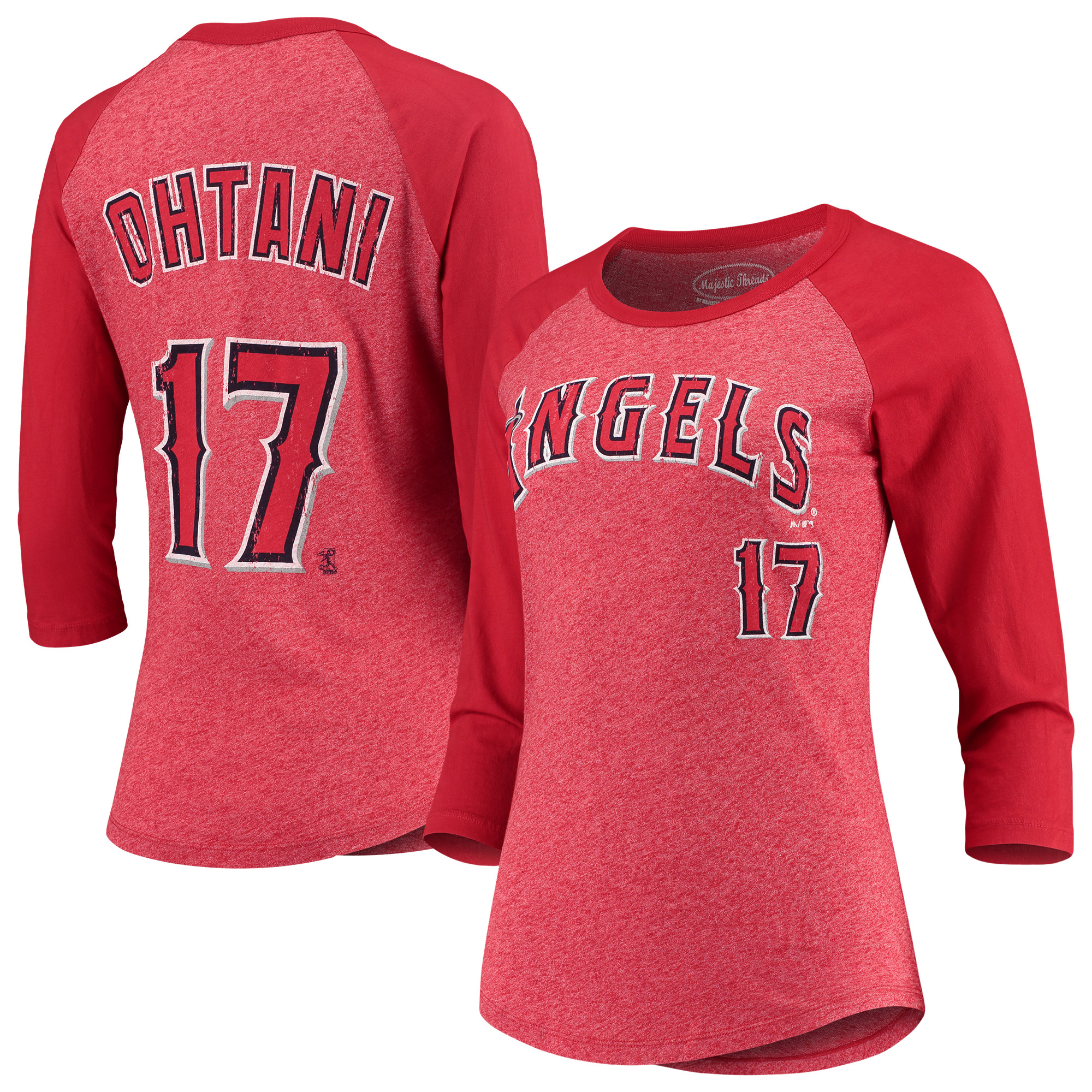 Shohei Ohtani Los Angeles Angels Majestic Threads Women's Name & Number Tri-Blend 3/4-Sleeve Raglan T-Shirt - Red