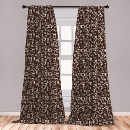 Brown and White Curtains 2 Panels Set, Hand Drawn Style Pattern with Coffee Tea Cups Donuts and Sweets, Window Drapes for Living Room Bedroom, Dark Brown and White, by (The Temperature Of A Certain Cup Of Coffee)