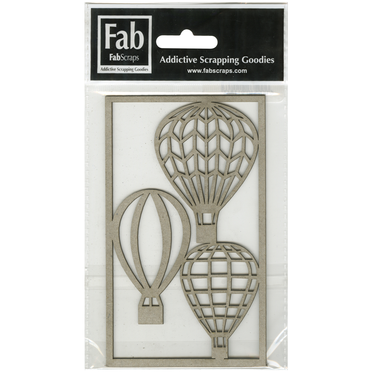 "FabScraps Kaleidoscope Die-Cut Gray Chipboard Shape-Hot Air Balloons, Up To 2""X2.75"" 3/Pkg"