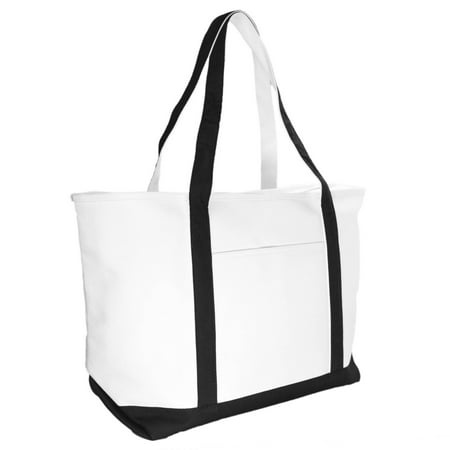 "DALIX 23"" Black Large Heavy Duty 24 oz. Cotton Canvas Shopping Tote Bag"