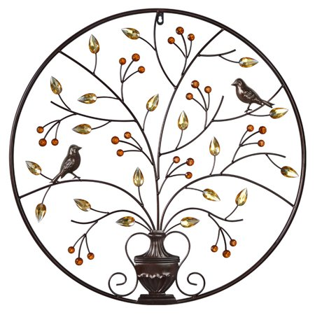 Birds Tree Iron Sculpture Ornament Home Room Wall Hanging Decoration 24'' x 24'' - image 8 de 8