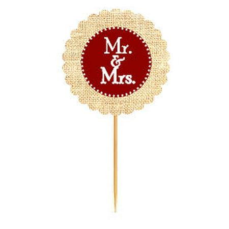 Mr & Mrs Burgundy Rustic Burlap Wedding Cupcake Decoration Topper Food Picks](Cupcake Picks)