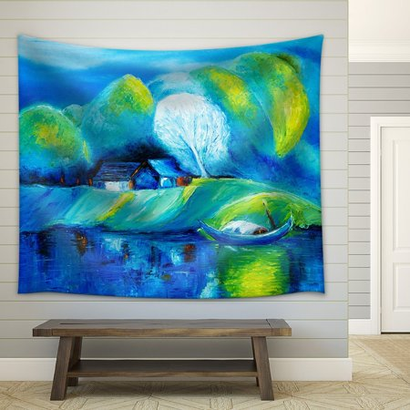 wall26 - Original Oil Painting Showing Lake,Boat and House Landscape on Canvas - Fabric Wall Tapestry Home Decor - 68x80 inches