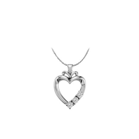 925 Sterling Silver Three Stone CZ Family Heart Pendant - image 1 de 4