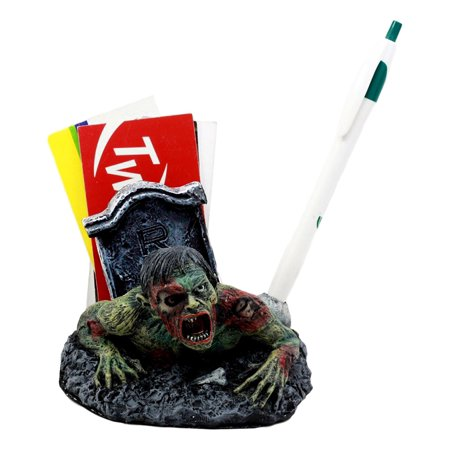 Ebros Gift Walking Dead Crawling Zombie Pen & Business Cards Holder Figurine 4.5