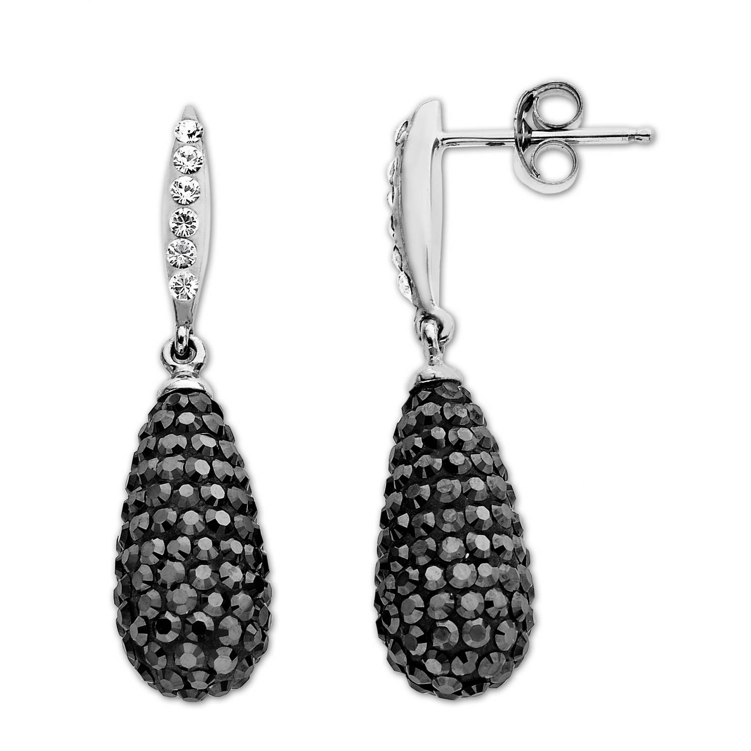 Luminesse Black Drop Earrings in Sterling Silver with Swarovski Elements