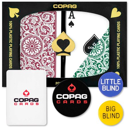 (Dealer Kit - Poker Size, Regular Index (Green & Burgundy), 100% Plastic Playing Cards By Copag)