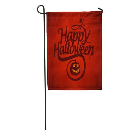 Creepy Happy Halloween Font (SIDONKU Red Text Happy Halloween Calligraphic Pumpkin Graphic Fall Creepy Treat Garden Flag Decorative Flag House Banner 28x40)