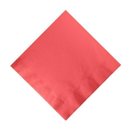 50 Plain Solid Colors Beverage Cocktail Napkins Paper - Coral - Coral Paper Napkins