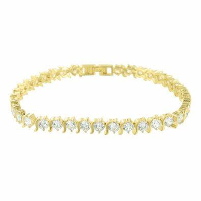 Gold Finish Solitaire Bracelet Lab Diamond Round Cut Womens Lowest Price