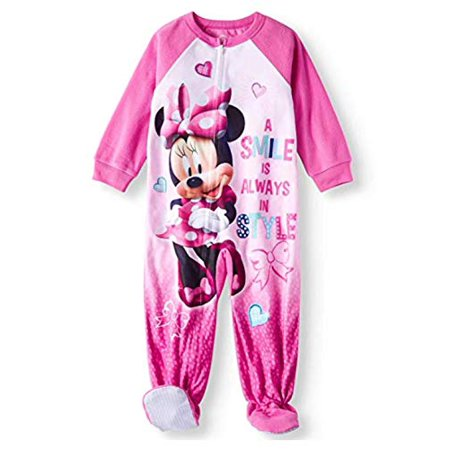 Pink Womens Onesie (Minnie Mouse a Smile is Always in Style Microfleece Footed Blanket Sleeper (3t))