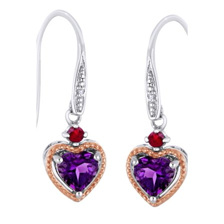Heart Cut Simulated Amethyst, Red Garnet With White Diamond Dangle Earrings In 10K Solid White Gold