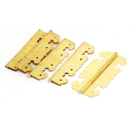 Jewelry Box Wooden Case Metal Decor Butt Hinges Gold Tone 68mm Length 5pcs - Hinged Wooden Box
