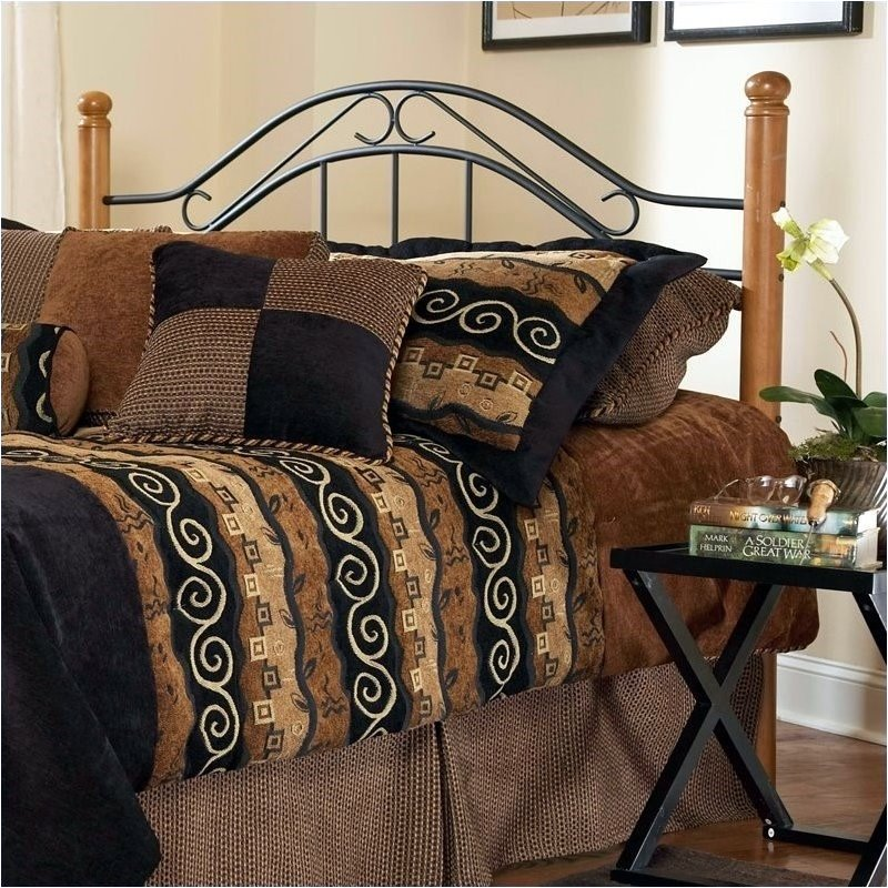 Hawthorne Collections Twin Poster Spindle Headboard in Black and Oak