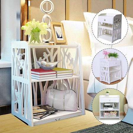 Retro Carved Bedside Table Rack Cabinet Organizer Night Stand Bedroom Drawers Books Toy W/drawer