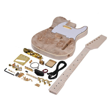 Top Solid Body Electric Guitar - Muslady TL Tele Style Unfinished Electric Guitar DIY Kit Basswood Body Burl Surface Maple Wood Neck & Fingerboard