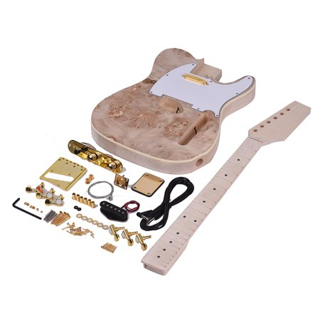 Muslady TL Tele Style Unfinished Electric Guitar DIY Kit Basswood Body Burl Surface Maple Wood Neck & Fingerboard