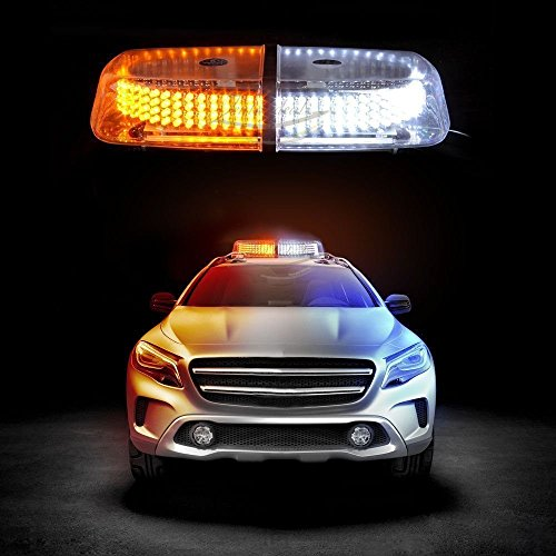 Zento Deals Dual Color Amber & White 240-LED Snow Plow Safety Strobe Light Warning Emergency 7-Patterns Car Truck Construction Car Vehicle Safety W/ Magnetic Base