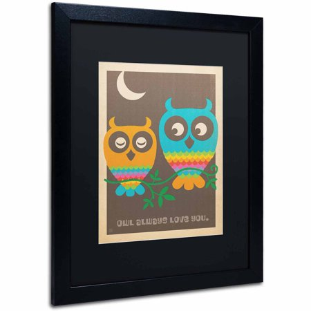 "Trademark Fine Art ""Rainbow Owls"" Canvas Art by Anderson Design Group, Black Matte, Black Frame"