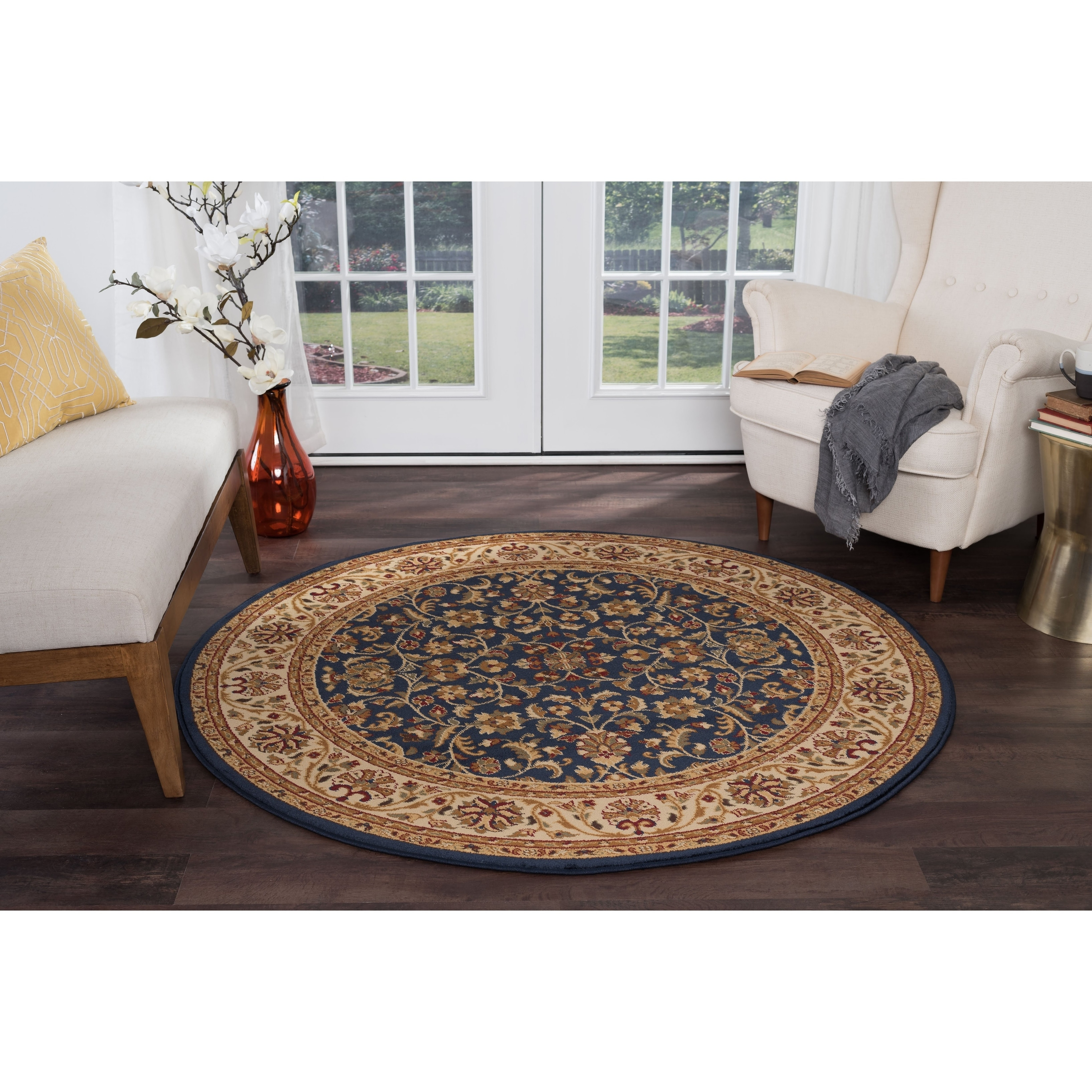 Alise Rugs  Soho Transitional Oriental Round Area Rug - 7'10 x 7'10