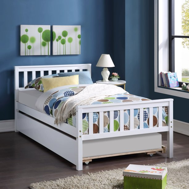 "Kids Twin Bed Frame with Headboard and Trundle, Wooden Platform Bed with Footboard for Teens Boys Girls Bedroom Living Room, No Box Spring Needed, White 79.5""L*42""W*33.5""H"